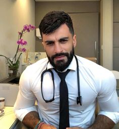 💟If you need to meet a rich doctor,then come here👇👇here is a doctor dating site for you❤❤💎💎 London🇬🇧America🇺🇸Australia Canada! . Hot Doctor, Male Doctor, Beautiful Men Faces, Gorgeous Men, Hairy Men, Bearded Men, Hairy Hunks, Handsome Arab Men, Men In Uniform