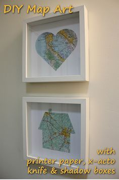 easy map art - you just need printer paper, an x-acto knife and shadow boxes or frames. you can find high res maps online to print out.