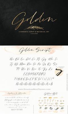 Fonts Handwriting Discover Golden is a stunning collection of a romantic script & botanical art. Use this collection to create the most gorgeous wedding designs mood boards invites wall art & branding designs. Calligraphy Fonts, Script Fonts, Typography Fonts, Wedding Typography, Modern Calligraphy, Handwriting Alphabet, Hand Lettering Alphabet, Letras Tattoo, Creative Fonts