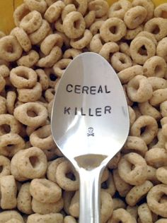 """""""Cereal Killer"""" Spoon! Lovely idea. Hmm...not sure where to pin this."""