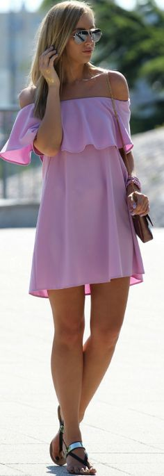 Lilac Ruffle Off The Shoulder Little Dress #Style and Blog