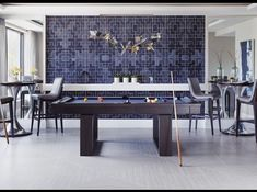 Game on! Check out this stunning gameroom from our customer Renée Gaddis Interiors featuring Hubbardton Forge's Belladonna Pendant. Game Room Lighting, Naples Florida, Luxury Interior Design, Common Area, Wrought Iron, Lighting Design, Dining Table, Marquetry, Contemporary