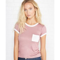 Cropped Ringer Pocket Tee ($15) ❤ liked on Polyvore featuring tops, t-shirts, wistful mauve, wet seal t shirts, wet seal and wet seal tops