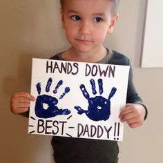 Our Father's Day project! Acrylic paint on canvas - so cute - hands down the best daddy - perfect hand craft