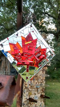 "O Canada! 6"" x 6"" mirror mosaic sun catcher on steel. Contact hungry3@hotmail.com for information."