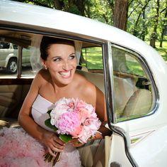 Such a cute Bride! Did the fading pink wedding dress before Gwen Sefani!