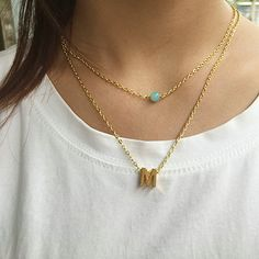 Fashion charm gold letter M necklace pendant for women simple light green bead dainty lariat chain choker layered delicate gift #Affiliate