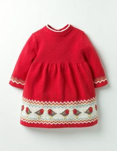 Get cosy by a roaring fireplace in this knitted Fair Isle dress. The soft (and machine-washable) merino wool blend makes it the perfect chill-buster for delicate skin. Just slip it on with tights and let the festivities begin. Knit Baby Dress, Knitted Baby Clothes, Girls Sweaters, Red Sweaters, Knitting For Kids, Baby Knitting, Little Girl Dresses, Girls Dresses, Baby Cardigan Knitting Pattern