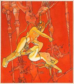 Moebius, Zero gravity sex, mind to mind, Jean Giraud, Illustrations, Illustration Art, Moebius Art, Moebius Comics, Ligne Claire, Fantasy Comics, Bd Comics, Science Fiction Art
