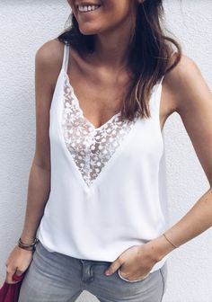 New Fashion Women Casual Summer Tops Ladies Sexy Lace V-neck Top Sleeveless Blouse Tank Tops Shirt Women Clothes Look Fashion, Fashion Outfits, Fashion Site, Fashion 2018, Ladies Fashion, Womens Fashion, Lace Camisole Top, Casual Skirt Outfits, Mode Inspiration