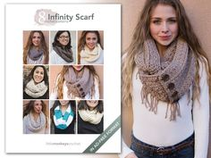 Looking for your next project? You're going to love 8 Infinity Scarf Crochet Patterns E-Book by designer littlemonkeys.