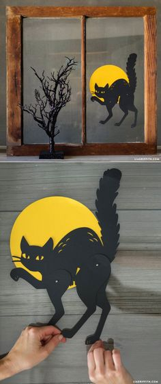 Add a last-minute fright and delight to any window or display with this DIY papercut Halloween black cat craft! decorao com papel Papercut Black Cat Halloween Decoration - Lia Griffith Moldes Halloween, Casa Halloween, Adornos Halloween, Manualidades Halloween, Halloween Cat, Holidays Halloween, Vintage Halloween, Happy Halloween, Halloween Decorations