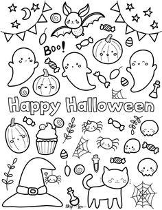 Easy Doodles Drawings, Simple Doodles, Kawaii Drawings, Cute Drawings, Cute Halloween Coloring Pages, Easter Coloring Pages, Cute Coloring Pages, Doodle Coloring, Cute Doodle Art