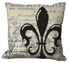 Postcard Ephemera Fleur de Lis  in Choice of 14x14 16x16 18x18 20x20 22x22 inch Pillow Cover