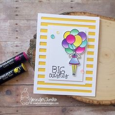 Beautiful greetings card created by @jentimko using their Chameleon Pens! #chameleonpens #pen #marker #alcoholmarkers #markerpen #colour #color #colouring #coloring #greetingscard #card #cardmaking #balloon #create
