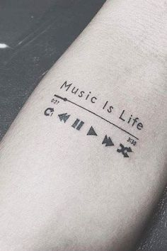 Check out this neat music tattoo - what an original design and development Love Music Tattoo, Small Music Tattoos, Music Tattoo Designs, Small Tattoos For Guys, Cool Small Tattoos, Music Related Tattoos, Dj Tattoo, Tattoo Cat, Book Tattoo