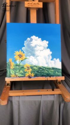 """If you like this painting, you can click """"Visit Site"""" to visit my ETSY shop. Don't forget to give this video a """"love"""" if you enjoy it. Thx a lot! #abstractpainting #landscapepainting #bluepainting #oilpainting #homedecor #canvaspainting Small Canvas Art, Diy Canvas Art, Sunflower Canvas Paintings, Canvas Painting Landscape, Arte Madi, Watercolor Art Lessons, Canvas Painting Tutorials, Art Drawings, Etsy Shop"""