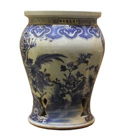 Chinese Blue & White Porcelain Scenery Round Stool Table cs2279S