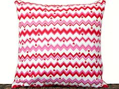 Hearts Valentine Pillow Cover Cushion Chevron Red Pink White Decorative 16x16 - pinned by pin4etsy.com
