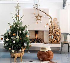 Decoración de arbol de Navidad - 8 ideas para inspirarte - Deco natural colores dorado y blanco