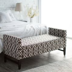 Belham Living Camille Upholstered Backless Storage Bench - Chocolate Geo - Bedroom Benches at Hayneedle