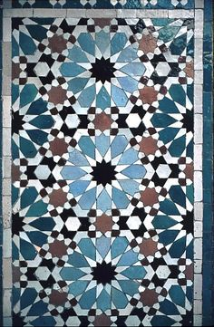 Image MOR 0232 featuring decorated area, in Fez, Morocco, showing Geometric Pattern using ceramic tiles, mosaic or pottery.