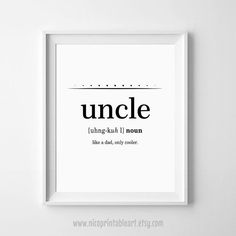 Uncle Gift Best Definition Print Gifts For Ever New Birthday 11x14