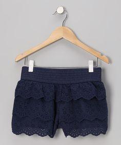 Take a look at this Navy Eyelet Shorts on zulily today!