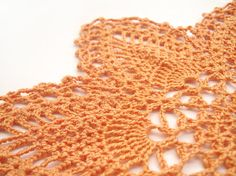 Orange Lace Doily, Seven-Point Pineapple : Handmade Fall Decor, Egyptian Cotton, Modern Heirloom : by CyanAndSepiaHome, $25.00