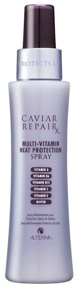 Alterna Caviar Repair Rx Multi-Vitamin Heat Protection Spray Just what is needed to keep down heat damage from blow-drying and curling rods when preparing for blogging video.  Aff link