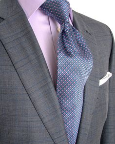 Brioni | Grey Glen Plaid with Navy and Blue Windowpane Suit | Apparel | Men's