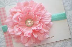 Flower Headband in Pink and Aqua - Baby Headband, Baby Girl Headband, Newborn Headband, Girls Headbands. $7.99, via Etsy.