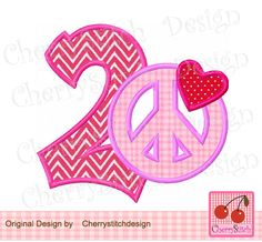 Peace sign number 2 with heart,Valentine's Day number 2,My 2nd Valentine's Day Digital Applique -4x4 5x5 6x6 inch-Machine Embroidery Design by CherryStitchDesign on Etsy
