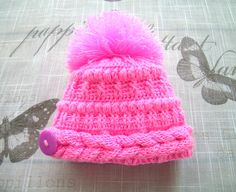 Handmade bright pink Baby girls HAT, fancy pattern hand-knitted hat for Newborn Girl, NEWBORN - 6 Months, pink knitted hat with pom pom by ramutez on Etsy