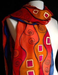 Stunning hand painted Art Nouveau style silk by FantasticPheasant, $40.00