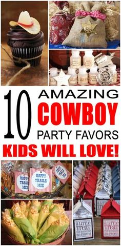 Fun cowboy party favor ideas for kids and teens. Try these simple diy cowboy and western theme party favors for boys and girls. Here are some easy gift bags, treat bags and more to say thank you to the friends of that special birthday child. Rodeo Birthday Parties, Horse Theme Birthday Party, Country Birthday Party, Rodeo Party, Cowboy Theme Party, Special Birthday, Cowboy Party Decorations, Birthday Ideas, Cowgirl Birthday