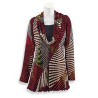 Striped Color Block Draped-Neck Sweater
