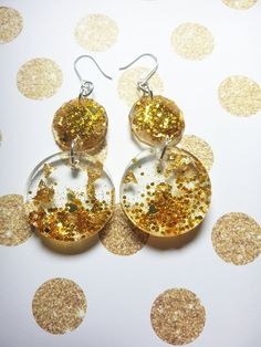 Handcrafted Resin Earrings using glitter on Sterling Silver earring hooks. Gold Glitter, Hooks, Beading, Resin, Jewelry Design, Handmade Items, Drop Earrings, Jewels, Jewellery