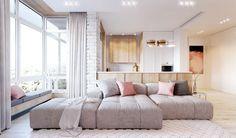 Home interior Design Videos Ideas Living Rooms - - - - Chic Living Room, Home Living Room, Living Room Designs, Minimalist House Design, Minimalist Home, Pink Bedroom Design, Cosy Home, Small Apartments, Interiores Design
