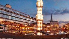Night view of the crystal obelisk By Edvin Öhrström and The House of Culture at Sergels Torg in central Stockholm.