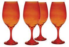 S/4 Moonlight Wineglasses, Orange on OneKingsLane.com