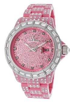 ToyWatch Women's White Crystal Pave Pink Dial Pink Resin With White Crystal