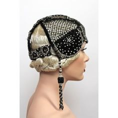 1920s velvet & rhinestone flapper cap with beaded tassels