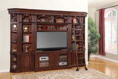 Showcasing classic colonial style, the Parker House Wellington Space Saver Entertainment Center gives your living area a refined yet comfortable feel. Wall Entertainment Center, Parker House, Cool Tv Stands, Library Wall, Hemnes, High Quality Furniture, Ikea, Entertaining, Space Saver