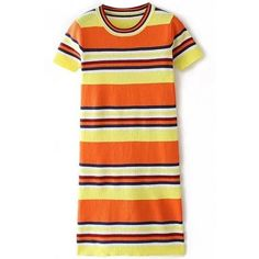 LUCLUC Orange Color Block Scoop Short Sleeve Colorful Stripes Mini... (£22) ❤ liked on Polyvore featuring dresses, colorful dresses, orange mini dress, orange striped dress, striped mini dress and striped dress
