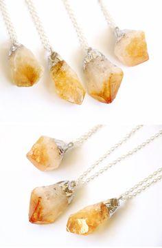 Citrine Raw crystal necklace Raw Stone Crystal Quartz Dipped Silver Necklace gemstone raw quartz raw stone necklace crystal jewelry OOAK (20.00 USD) by VermeerJewellery