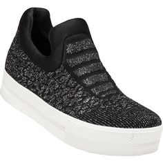 ASH Jaguar Black Glitter Knit Slip On ($104) ❤ liked on Polyvore featuring shoes, sneakers, black glitter, glitter sneakers, slip-on shoes, glitter platform sneakers, black slip on sneakers and slip-on sneakers