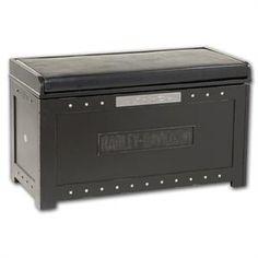 Harley-Davidson® Bar & Shield Flames Storage Bench HDL-13601-V