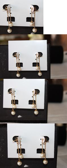 Pearl 10990: 14K Solid Yellow Gold Drop Dangle Chain White Cultured Pearl Earrings -> BUY IT NOW ONLY: $49.99 on eBay!
