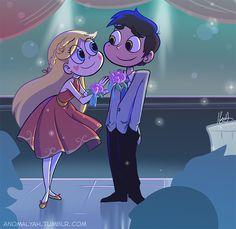 Star e Marco no baile da Escola